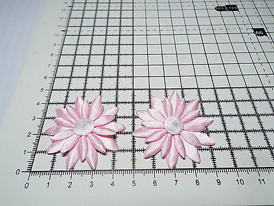 Daisy Motif,Trimmings,Wedding Big Applique 4.3cm 2x Satin Pink with White
