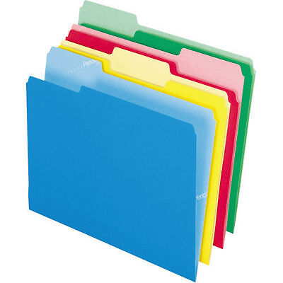 Pendaflex Cutless Top-Tab Folder Assorted Colors 1/3 Cut Letter 100ct