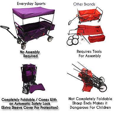 HighEnd Grade Collapsible Wagon w/ Canopy - Enhance Safety For Your Beloved Kids