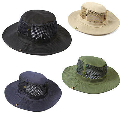 Fashion New Men Outdoor Camping Fishing Cap Sun Protection Boonie Hat Wide Brim