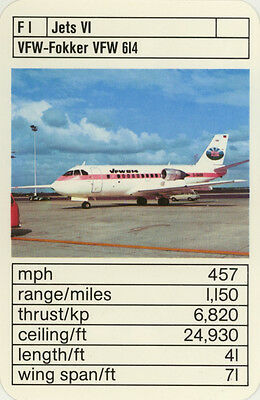 Single Vintage Game Card: VFW-Fokker VFW 614. Jet Aeroplane.