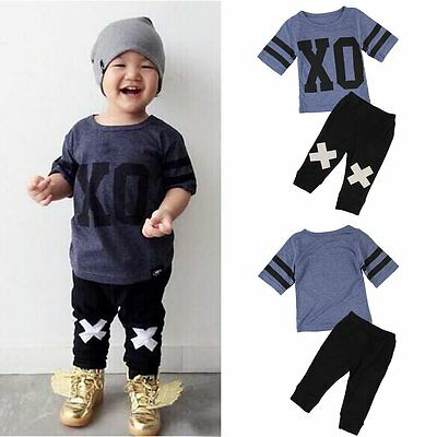2pcs Toddler Kids Baby Boys T-shirt Tops+Pants Summer Casual Outfits Clothes Set
