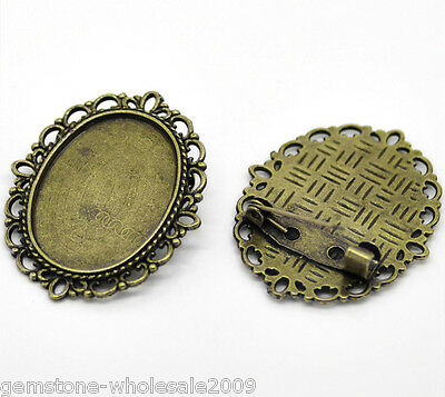 Wholesale Lots Bronze Tone Oval Cameo Frame Setting Brooches