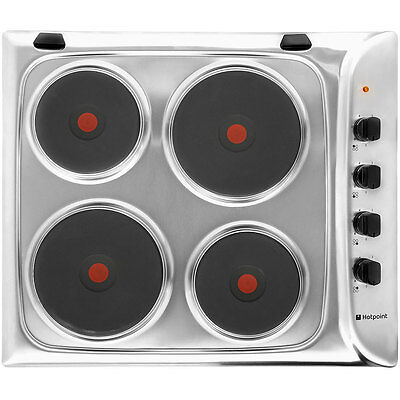 Hotpoint E604X Built In 58cm 4 Burners Solid Plate Hob Stainless Steel New