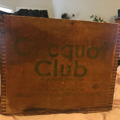 Vintage Clicquot Club Wood Box Crate Carrier-Klee Ko-Mass FINGER JOINTS