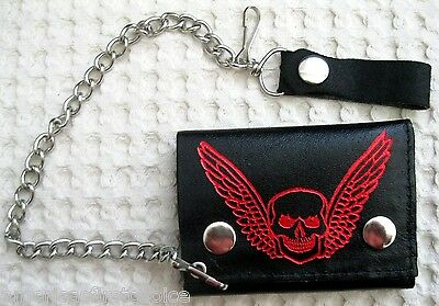 Goth Punk Trucker Biker Chain All Leather Wallet w/ Red Broken Head Skull Wings