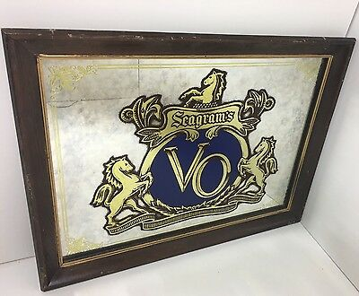 Seagram's VO Canadian Whisky Bar Decor Antiqued Mirror Sign Advertising Vintage