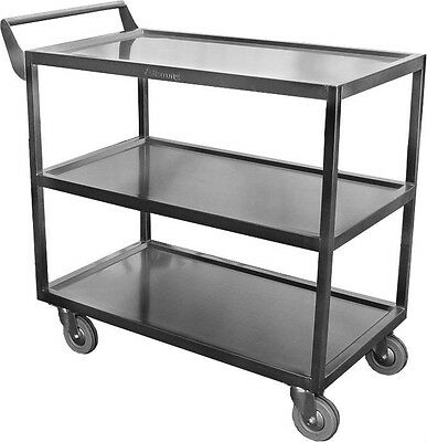 "Stainless Steel 34 x18 Heavy Duty Utility Bus Cart Stainless 5"" Casters C-4222"