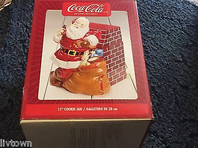"Coke Coca Cola Santa At Fireplace #53683.01 11"" Cookie Jar Canister 2005"