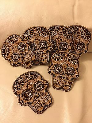 "6 ""Candy Skull"" engraved drink cork coasters • Unboxed • Made in Australia •"