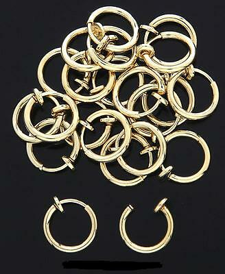 Septum Nose Ear Cuff Ring Spring Loaded Fake Clip On Gold Or Silver Cheater 1 PC