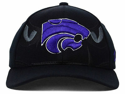 new style 34279 07943 Kansas State Wildcats KSU Zephyr Cap Stretch Fitted Black Covert Hat M L