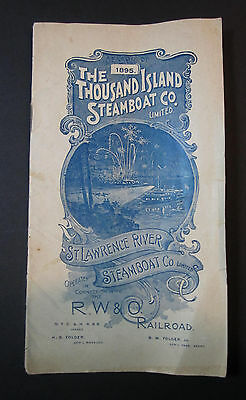 SUPER RARE Travel Booklet Thousand Islands Steamboat RW&O RR 1895 Fold out Map
