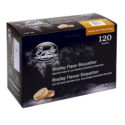 New Bradley Whiskey Oak Bisquettes 120 Pack - BTWH120