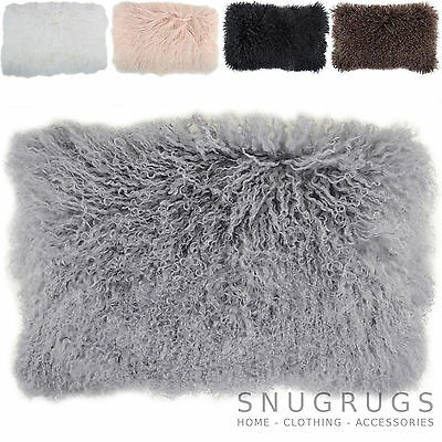 Mongolian Long Curly Wool Sheepskin Cushion / Pillow & Cushion Inner - 30 x 50cm