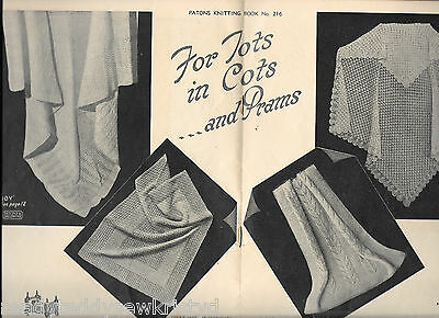 Vintage PATONS 216 knitting pattern book shawls cot covers 2/3/baby wool divine!