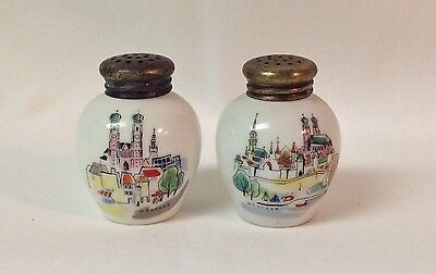Vintage Antique Porcelain Germany Salt Pepper Shakers Munchen Hand Painted