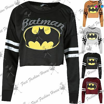 Womens Batman Raw Edge Sweatshirt Ladies Sporty Stripe Baggy Oversized Crop Top