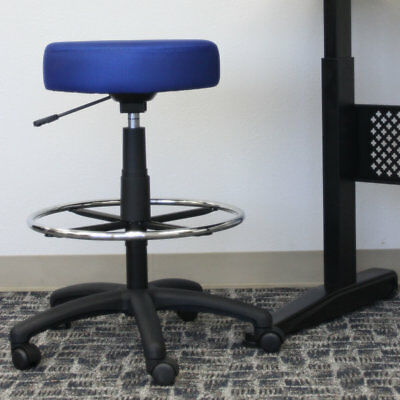 Boss Office Products Height Adjustable Mesh Drafting Chair Blue