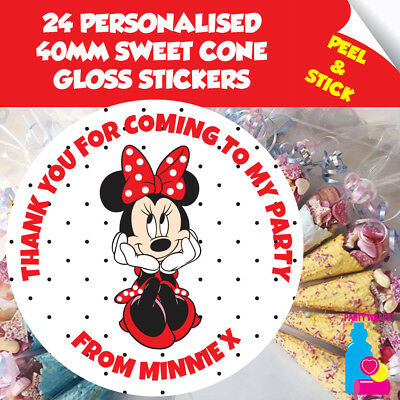 186 Personalised Sweet Cone Shop 37mm Birthday Stickers Party Thank You Seals