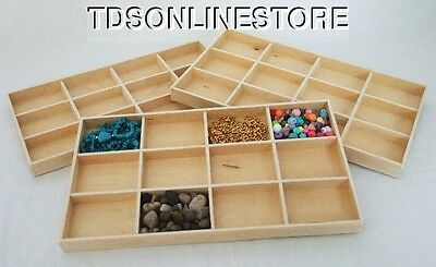 12 In 1 Natural Wood Jewelry Display Trays Package Of Three