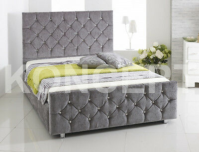 Chelsea Upholstered Storage Chenille Bed Frame All Colours & Sizes Diamante