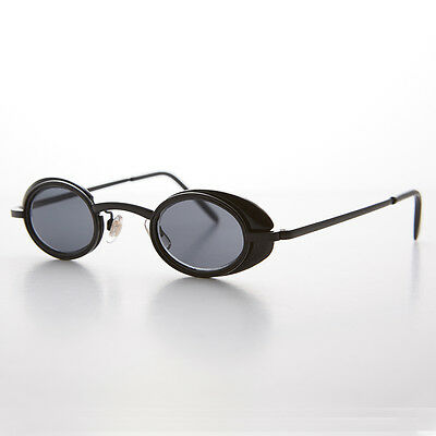 Small Oval Steampunk Goth Sunglasses with Side Shields Black - MARTY