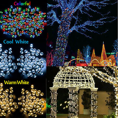 Solar Powered 100 200 LEDs String Fairy Tree Light Outdoor Wedding Party Xmas