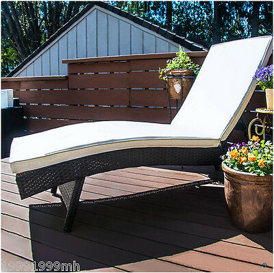 Outsunny Rattan Chaise Lounge Adjustable Reclining Sofa Wicker Chair Furniture