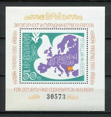 37879) BULGARIA 1980 MNH** European safety conference S/S