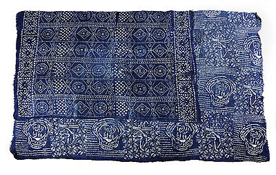 Handmade stenciled ceremonial indigo cloth from Mali, West Africa P128