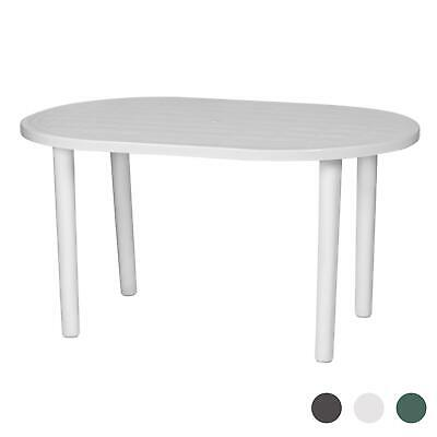 Resol Gala Outdoor Garden Strong Plastic Oval Dining Patio Table - White
