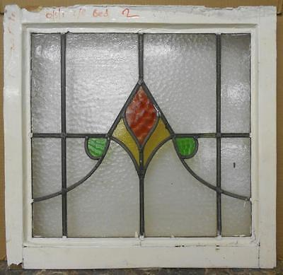 "OLD ENGLISH LEADED STAINED GLASS WINDOW Nice Abstract Design 21.5"" x 20.75"""