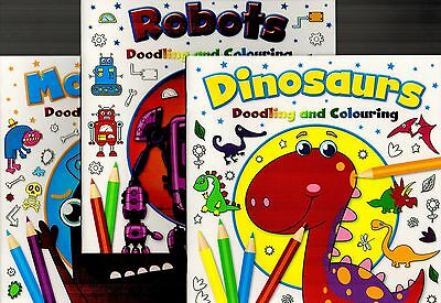 Dinosaurs, Monsters, Robots, Colouring Activity Books - 3 Book Set - New