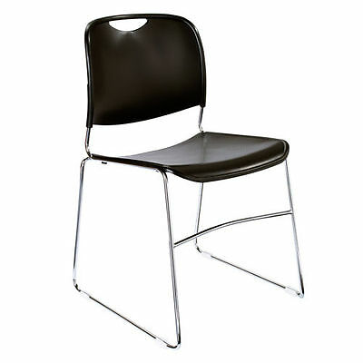 4 Pack Sled Base Stacking Chair- Black