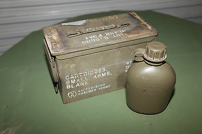 50 CAL size Ammunition Box,  Ammo Tin EX Military Army.  Includes FREE canteen