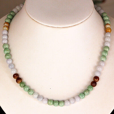 """19"""" Natural Jadeite ( A Jade ) Beads Necklace *** Untreated / P7729"""