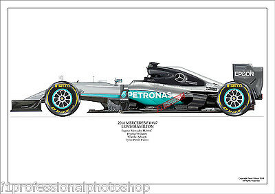 2016  Lewis Hamilton Mercedes W07 ltd ed./250 signed & numbered by artist