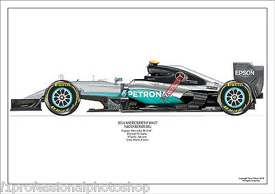2016  Nico Rosberg Mercedes W07 ltd ed No.1./250 signed & numbered by artist