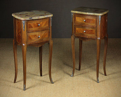 Pair Early 20th.c. Marble Top Bedside Drawers c.1930.
