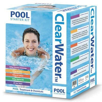 Clearwater - Pool Starter Kit - Includes Chlorine, pH+, pH-, Algaecide & Strips