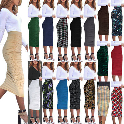 Womens Ruched Frill Ruffle High Waist Work Casual Midi Mid-calf Skirt 1877