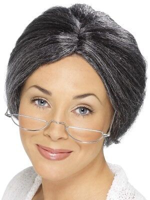 Grey Granny Bun Wig Old Lady Comedy Adults Fancy Dress Accessory