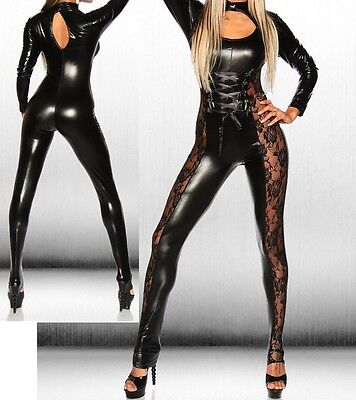 Sexy Vinyl Wetlook Catsuit  Fetish Lace Insets Make Him PURR 8 10