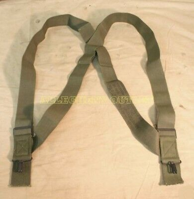 One Pair Of Olive Drab M1950 Military / Army Elastic Suspenders - Mint