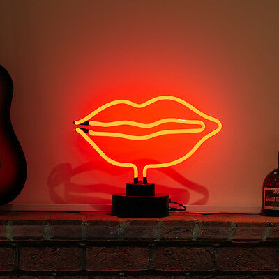 Neon Shop Sign Table Light Sculpture Advertising Gift Rolling Stone Big Red LIPS