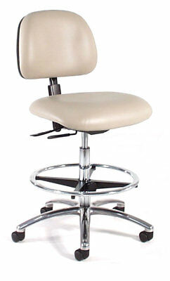 Height Adjustable Laboratory Stool with Seat and Back Tilt Polished Aluminum