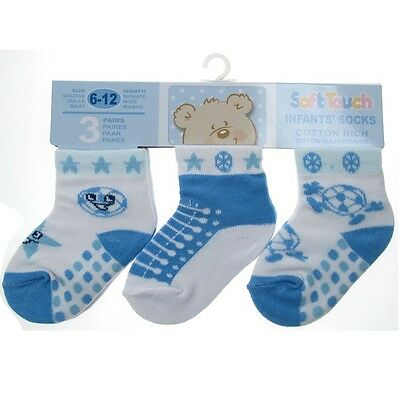 3 Pairs Baby Boys Socks Football Blue & White 0-3,3-6,6-12 Mths Soft Touch