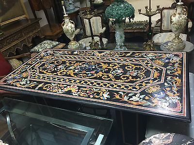 Large Pietra Dura Mosaic Table with Base