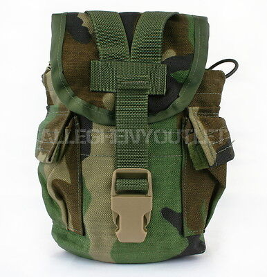 Lot of 2 NEW Molle II Canteen Cover Utility Pouch Woodland Camo Pattern USGI